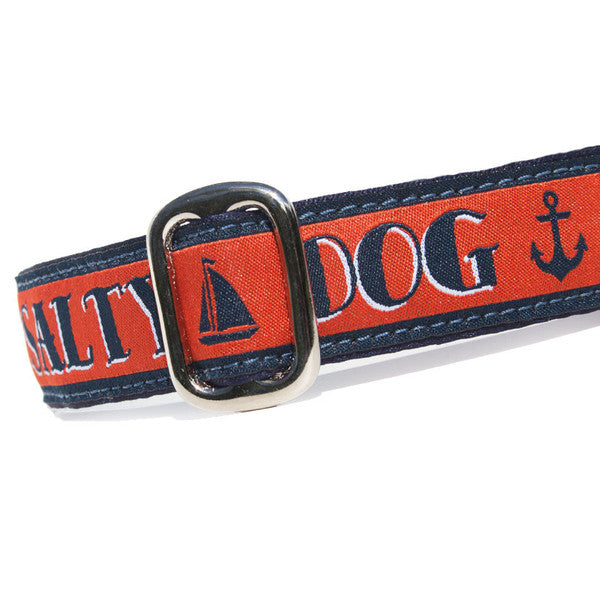 "1"" wide satin-lined red nautical salty dog buckle dog collar by Classic Hound Collar Co."