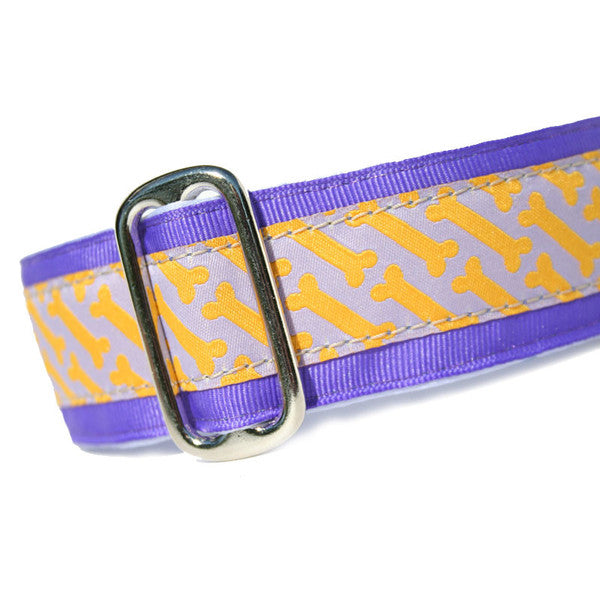 "1.5"" wide satin-lined purple and orange bone buckle dog collar by Classic Hound Collar Co."
