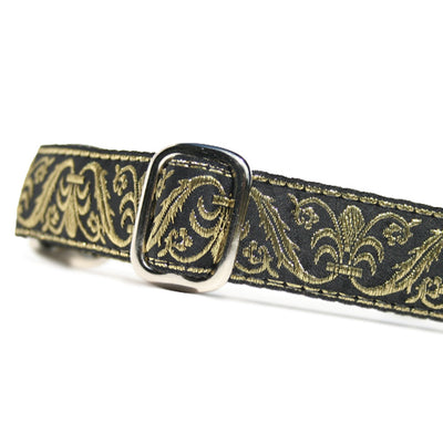 "1"" wide satin-lined metallic gold on black wedding id tag dog collar by Classic Hound Collar Co."