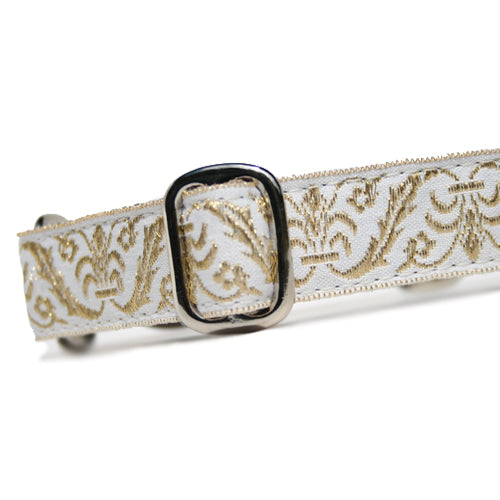 "1"" wide satin-lined metallic gold on white wedding martingale dog collar by Classic Hound Collar Co."