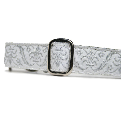 "1"" wide satin-lined metallic silver on white wedding martingale dog collar by Classic Hound Collar Co."