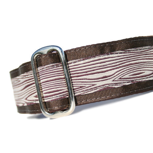 "1.5"" wide satin-lined brown woodgrain stick buckle dog collar by Classic Hound Collar Co."