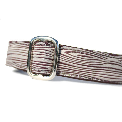 "1"" wide satin-lined brown woodgrain stick buckle dog collar by Classic Hound Collar Co."