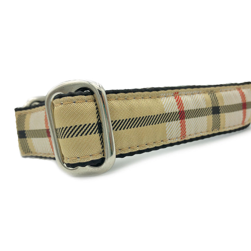 Satin-Lined Furberry Plaid Tag Collar