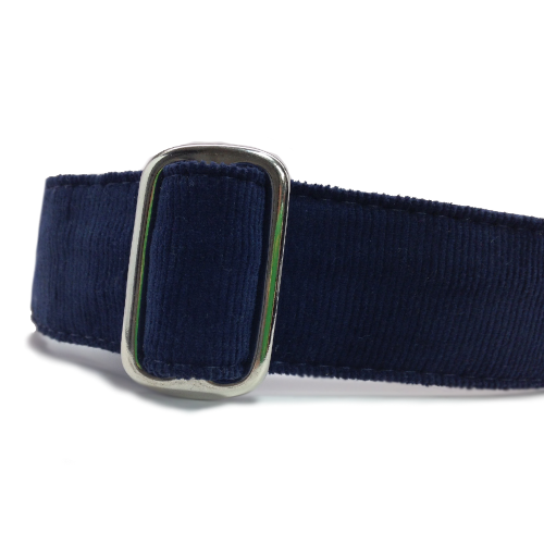Corduroy Navy Blue ID Tag Collar