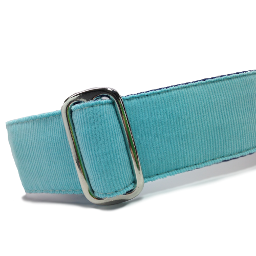 Corduroy Turquoise Blue ID Tag Collar