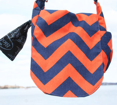 Double Duty Bag - Chevron Navy & Orange