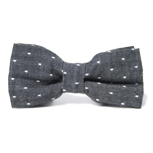Dog Bow Tie Chambray Dot Charcoal | Classic Hound Collar Co.