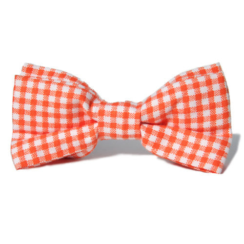 Dog Bow Tie Gingham Orange | Classic Hound Collar Co.
