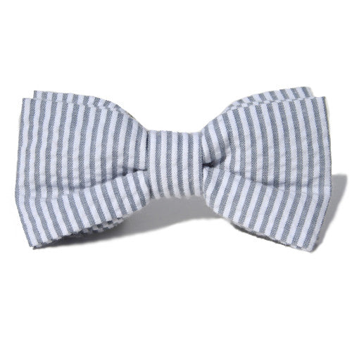 Dog Bow Tie Seersucker Grey | Classic Hound Collar Co.