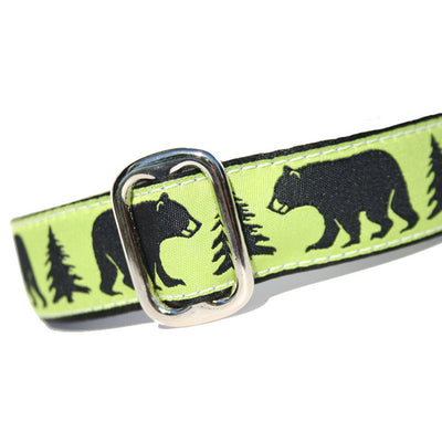 Green Black Bear Tree Dog Collar Slant