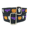 Purple Bats White Ghosts and Orange Pumpkins over a Black Background Dog Collars Stacked
