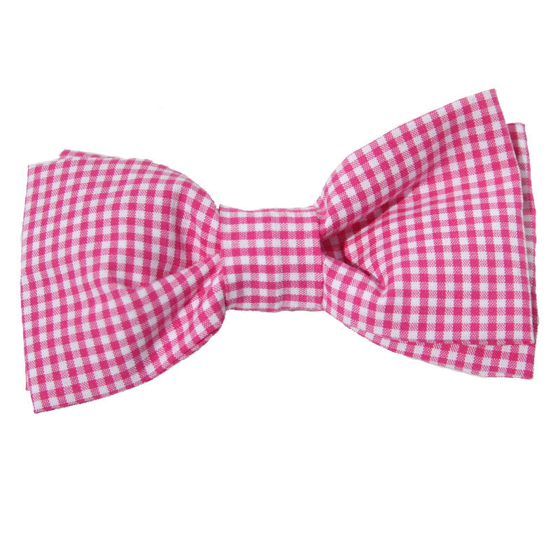 Dog Bow Tie Gingham Pink | Classic Hound Collar Co.
