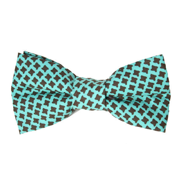 Dog Bow Tie Houndstooth Teal | Classic Hound Collar Co.
