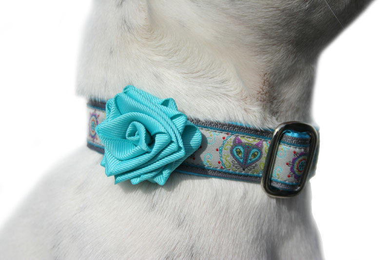 Navajo Turquoise Blue Dog Collar Rose Accessory by Classic Hound Collar Co.