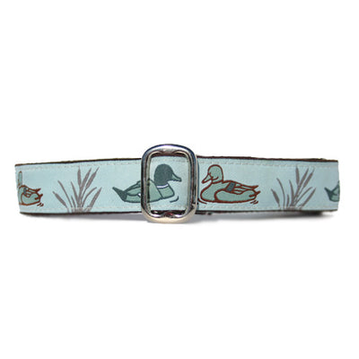 Light Blue and Brown Duck Pond Duck Hunter Dog Collar