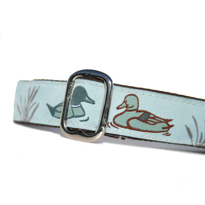 Light Blue and Brown Duck Pond Duck Hunter Dog Collar Slant