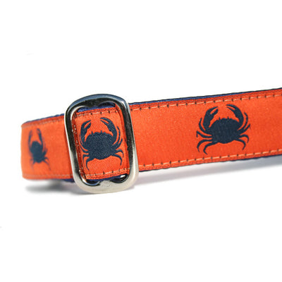 Navy Blue Crabs on Orange Background Ocean Nautical Dog Collar Slant