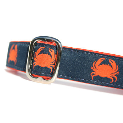 Orange Crabs on Navy Blue Background Ocean Nautical Dog Collar Slant