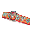 Orange Red Turquoise Blue Sugar Skull Sighthound Halloween Dia De Los Muertos Dog Collar Slant