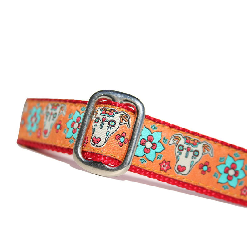 Orange Red Turquoise Blue Sugar Skull Sighthound Halloween Dia De Los Muertos Dog Collar