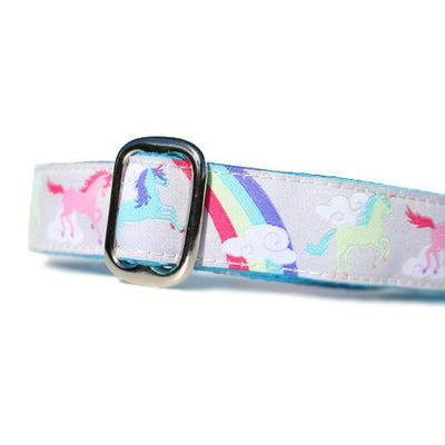 Pink Blue and Green Unicorns and Rainbows over a Grey Background Dog Collar Slant
