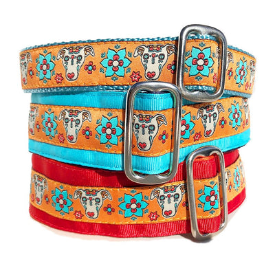 Red Orange Turquoise Blue Sugar Skull Sighthound Halloween Mexico Halloween Dog Collar Stack