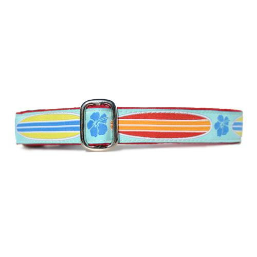 Red and Orange and Blue and Yellow Surfboards over Light Blue Background with Blue Hibiscus Hawaiian Surf Dog Collar