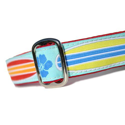 Red and Orange and Blue and Yellow Surfboards over Light Blue Background with Blue Hibiscus Hawaiian Surf Dog Collar Slant