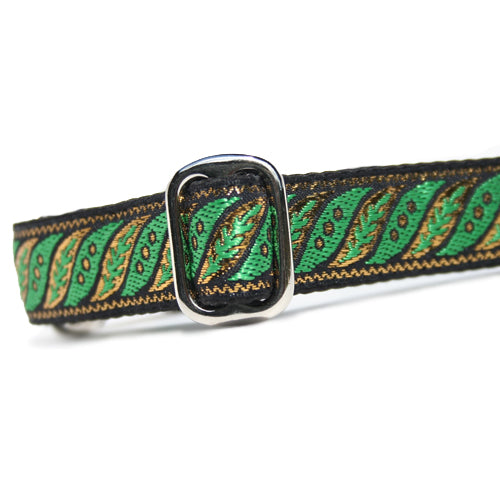 "1"" wide satin-lined metallic gold and green rope collar martingale dog collar by Classic Hound Collar Co."