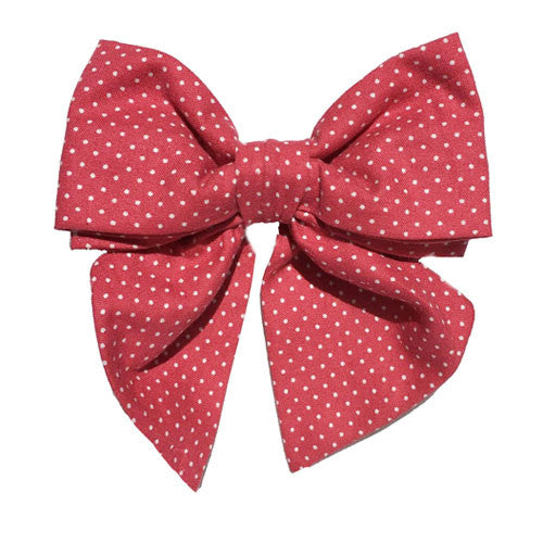 Collar Bow - Pin Dot Strawberry