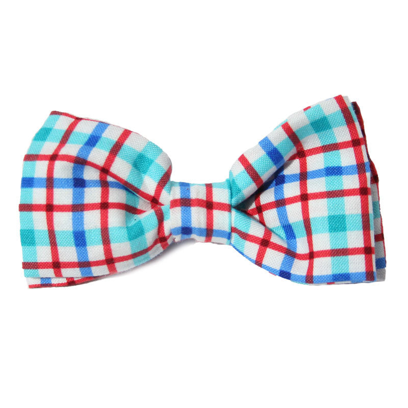 Dog Bow Tie Plaid Blue + Red | Classic Hound Collar Co.