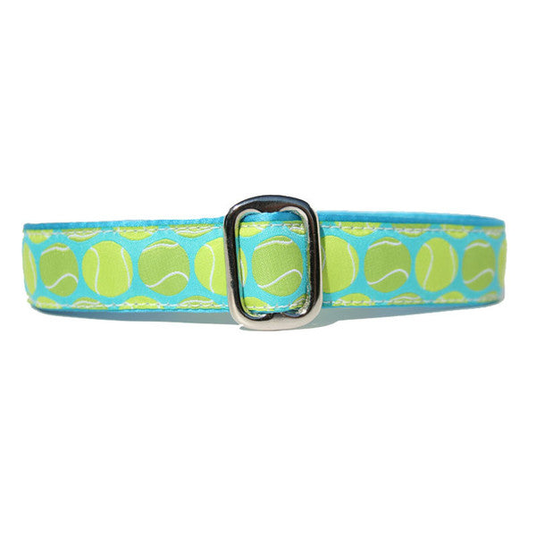 Turquoise and Green Tennis Ball Go Fetch Dog Collar