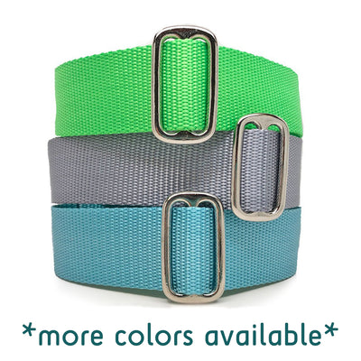"1.5"" Naked Nylon SOLID COLORS Buckle or Martingale"