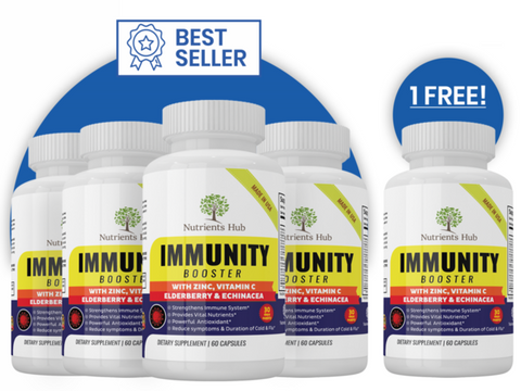 5 Bottles of Immunity Booster - Elderberry, Echinacea, Zinc, Vitamin C, B6, E, Probiotics & more.