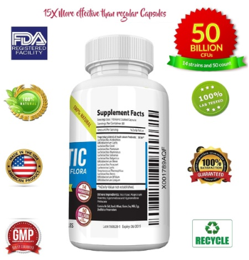 Image of Probiotics 50 Billion CFUs 14 Strains, High Potency Organic Ingredients Supplement, 50 Capsules