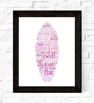 Pink Surf Art for Girls, Surfboard Decor - WonderlustWallArt