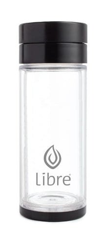 basic black glass water bottle with poly exterior shell