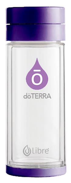 glass infuser water bottle with doterra brand