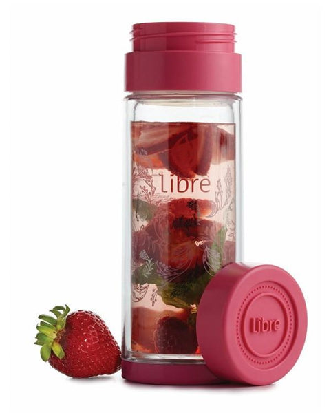 fruit water infusion bottle, glass inside poly outside