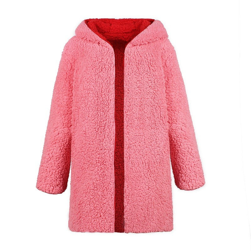 64aab935a40f5 ... Simplee Faux lambswool thick women jacket coat plus size Winter warm  hairly jacket Women autumn outerwear ...