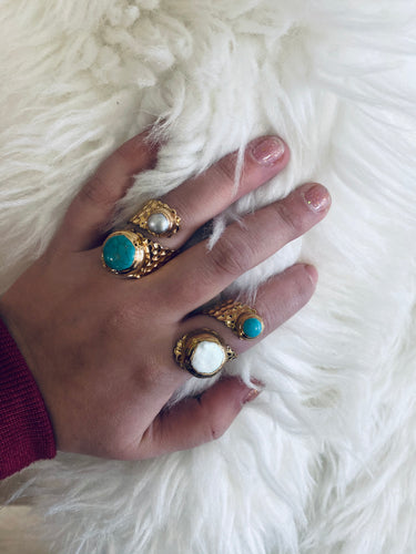 Double Ring Turquoise and Pearl