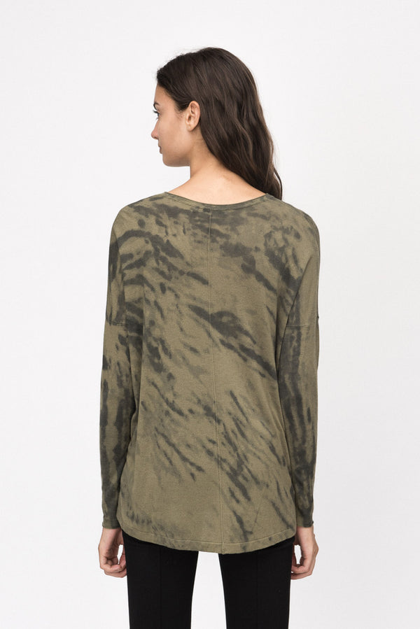 Army Thunder Print Boxy V Neck