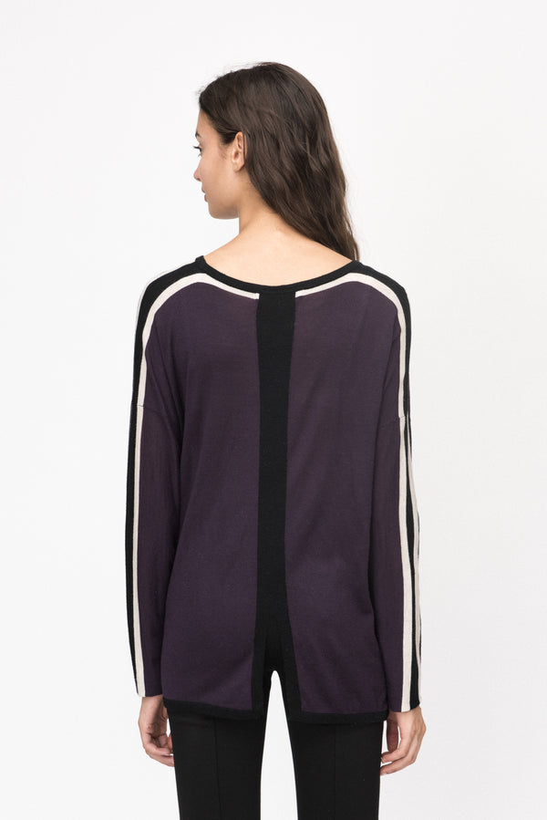 Back Slit Pop Stripe Crew