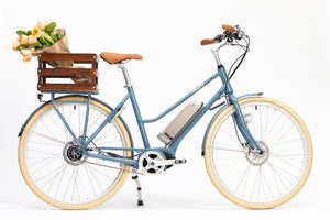 Premiere Edition Bluejay Electric Bicycle in Bluejay Blue with back rack basket