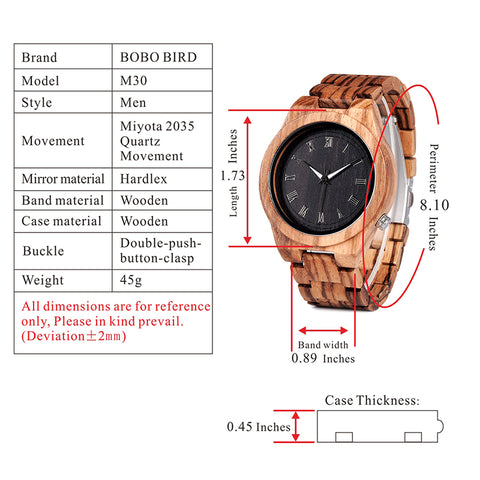 m30 technical specifications watch