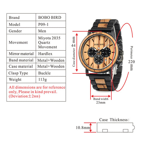 p09-1 technical specifications watch