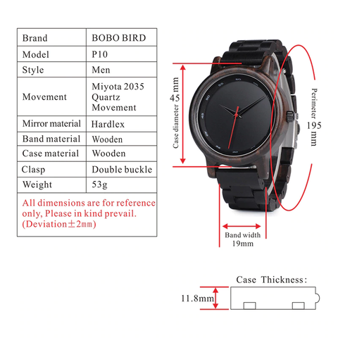 p10 technical specifications watch