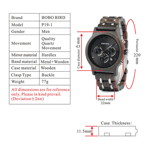 p19-1 technical specifications watch