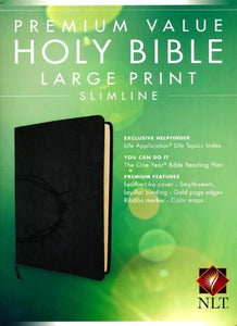 NLT Slimline Large Print Bible, Onyx with Crown of Thorns Design